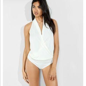 Express drapey surplice halter bodysuit